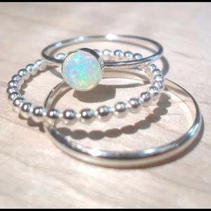 Jewelry - 💎 5🌟 Vintage Fire Opal Gemstone Ring Set 3 Piece